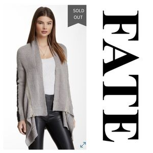 Fate Faux Leather Patch Sleeve Open Cardigan (M)